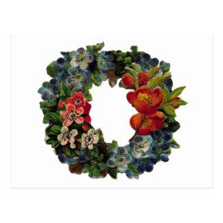 Vintage Christmas Wreath Postcard