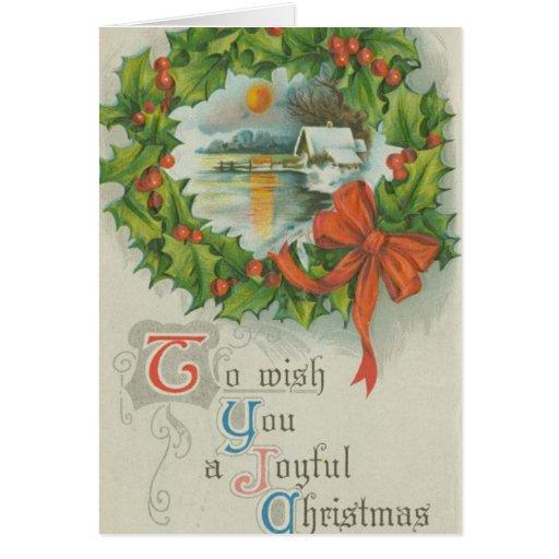 Vintage Christmas Wreath Town Card