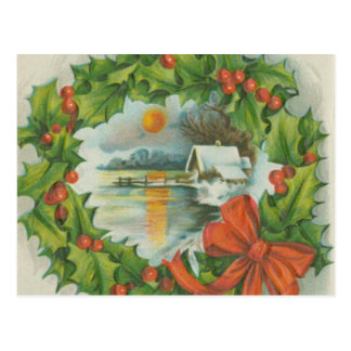 Vintage Christmas Wreath Town Postcards