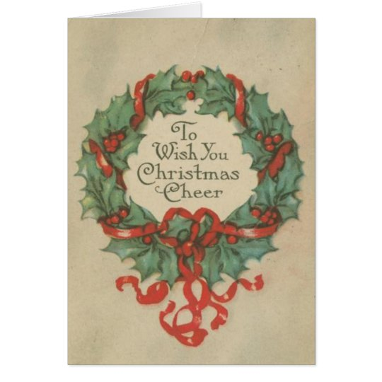 Vintage Christmas Wreath with Wishes Card