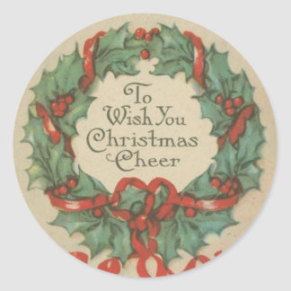 Vintage Christmas Wreath with Wishes Classic Round Sticker