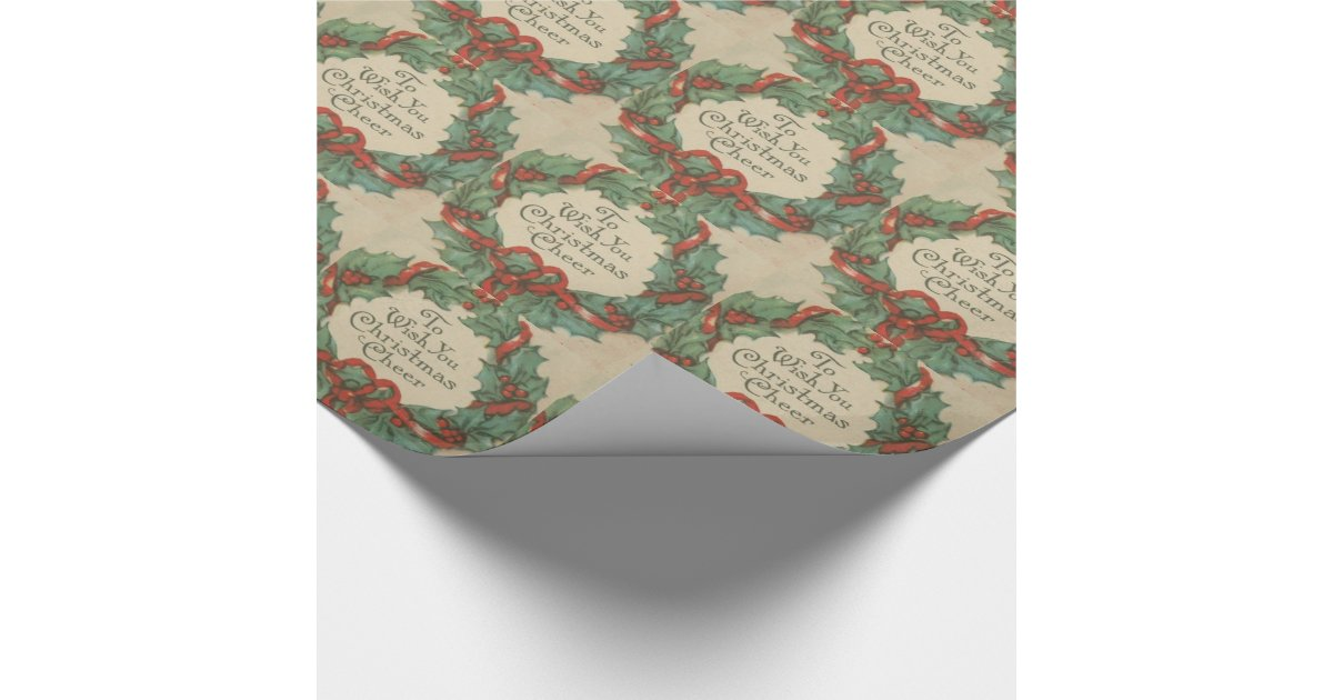 Vintage Book Cover Wrapping Paper : Vintage christmas wreath with wishes cover wrapping paper