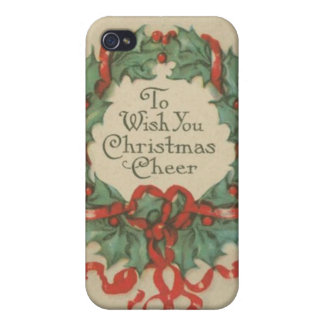 Vintage Christmas Wreath with Wishes Covers For iPhone 4