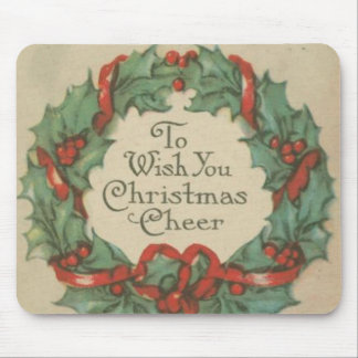 Vintage Christmas Wreath with Wishes Mouse Pad