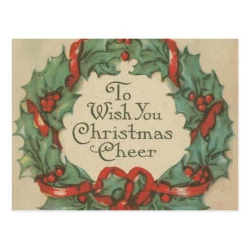 Vintage Christmas Wreath with Wishes Post Card