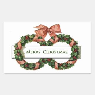 Vintage Christmas Wreaths Rectangular Sticker