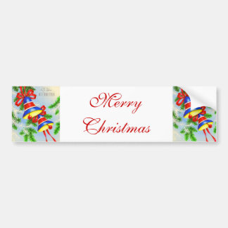 Vintage Christmas Xmas Bells Bumper Sticker
