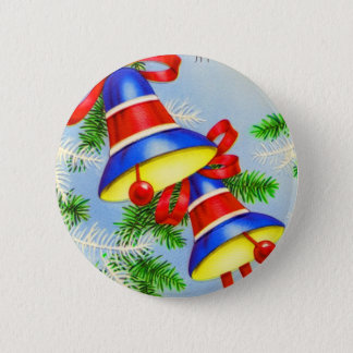 Vintage Christmas Xmas Bells Button