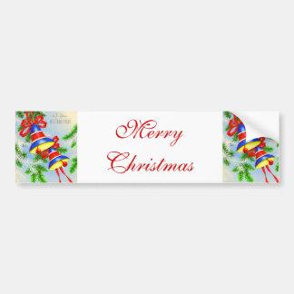 Vintage Christmas Xmas Bells Car Bumper Sticker
