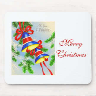 Vintage Christmas Xmas Bells Mouse Pad