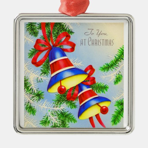 Vintage christmas xmas bells square metal