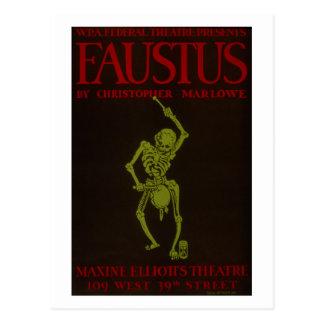 Vintage Christopher Marlowe Faustus Opera WPA Postcard