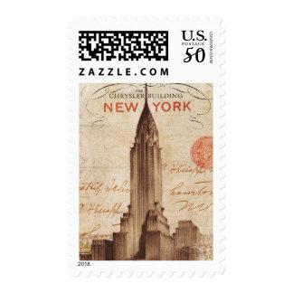 Vintage Chrysler Building in New York Postage