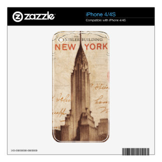 Vintage Chrysler Building in New York Decals For The iPhone 4S