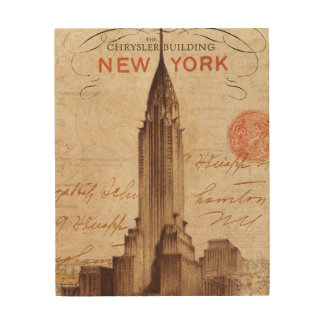 Vintage Chrysler Building in New York Wood Wall Art
