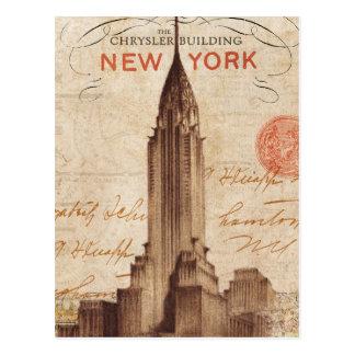 Vintage Chrysler que construye en Nueva York Tarjeta Postal