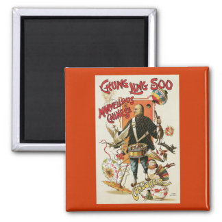 Vintage Chung Ling Soo Magician Poster 2 Inch Square Magnet