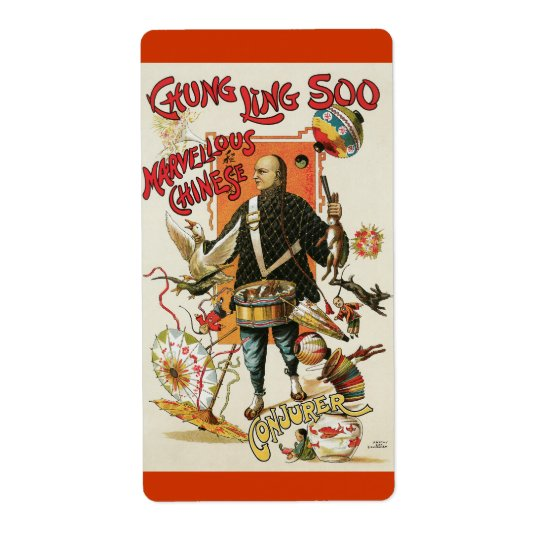 Vintage Chung Ling Soo Magician Poster Label