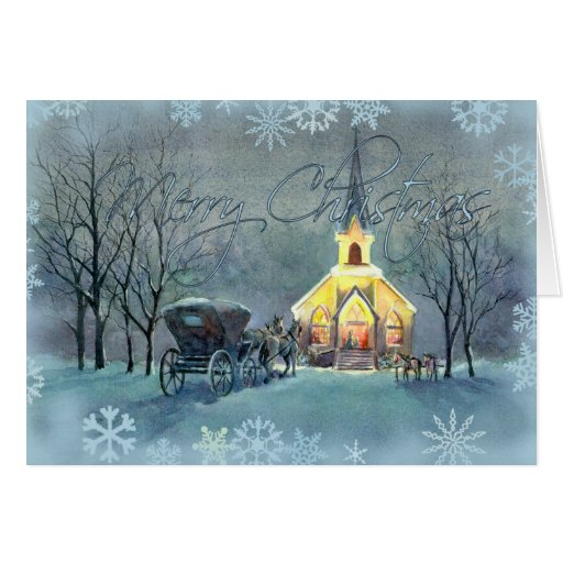 VINTAGE CHURCH by SHARON SHARPE Greeting Cards