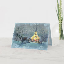 VINTAGE CHURCH by SHARON SHARPE Holiday Card