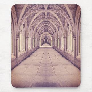 Vintage Church Corridor Mouse Pad