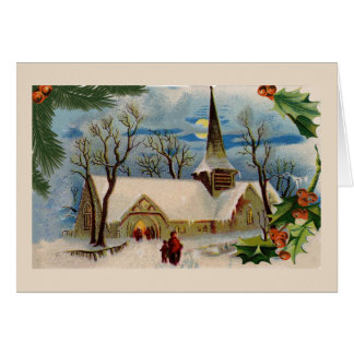 Vintage Church in winter Greeting Cards
