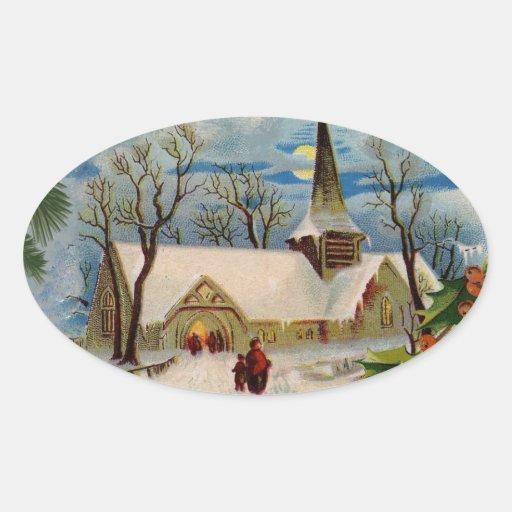 Vintage Church in winter Sticker