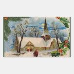 Vintage Church in winter Stickers