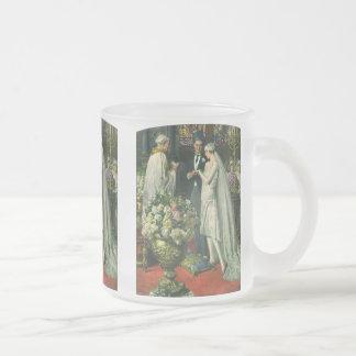 Vintage Church Wedding Ceremony; Bride and Groom 10 Oz Frosted Glass Coffee Mug