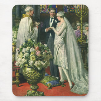 Vintage Church Wedding Ceremony; Bride and Groom Mouse Pad