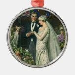 Vintage Church Wedding Ceremony; Bride and Groom Christmas Tree Ornament
