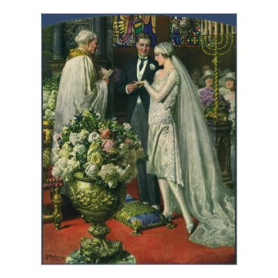 Vintage Church Wedding Ceremony Bride and Groom Poster by YesterdayCafe