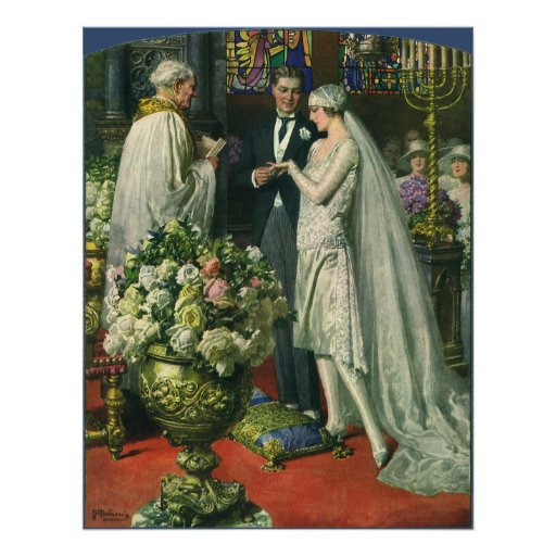 Vintage Church Wedding Ceremony; Bride and Groom Poster