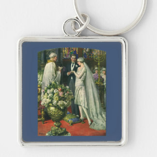 Vintage Church Wedding Ceremony; Bride and Groom Silver-Colored Square Keychain