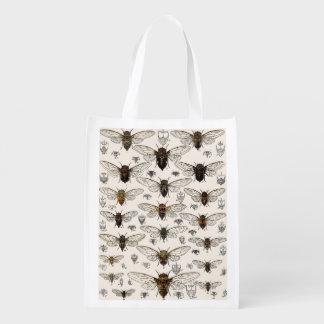 Vintage Cicadas Illustration Reusable Grocery Bags
