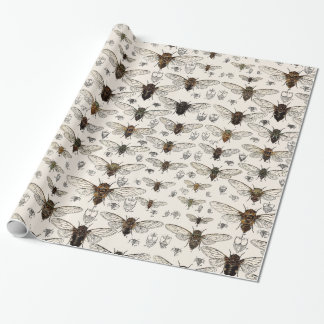 Vintage Cicadas Illustration Wrapping Paper