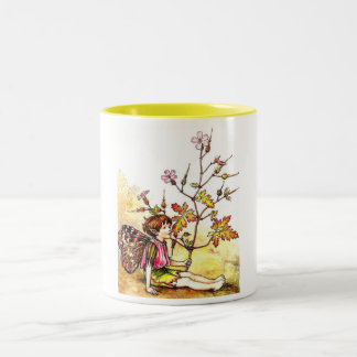 Vintage Cicely Mary Barker Pixie Flower Fairy Two-Tone Coffee Mug