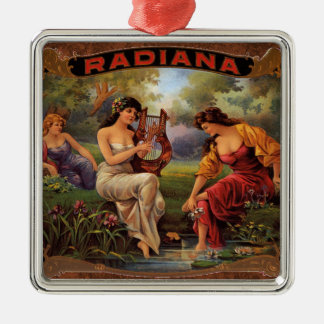 Vintage Cigar Ad Label Radiana Smoking Ornament