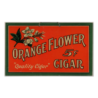 Vintage Cigar Advertisement: Orange Flower Poster