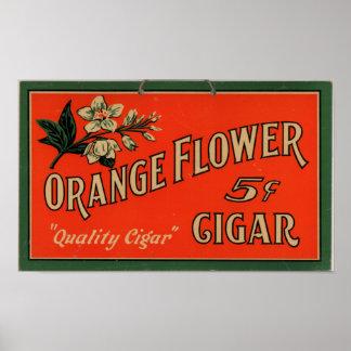 Vintage Cigar Advertisement: Orange Flower Poster