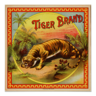 Vintage Cigar Advertisement: Tiger Brand Poster