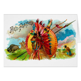 Vintage Cigar Box Indian Red Feather Label Greeting Card