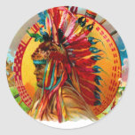 Vintage Cigar Box Indian Red Feather Label Classic Round Sticker