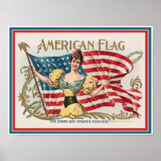 Vintage Cigar Box Label - American Flag Poster