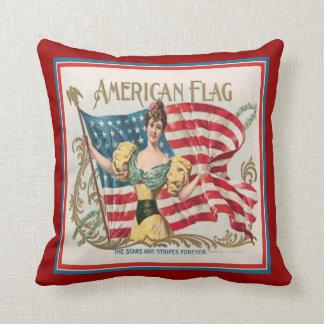 Vintage Cigar Box Label American Flag Throw Pillow