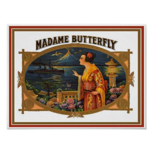 Vintage Cigar Box Label - Madame Butterfly Poster