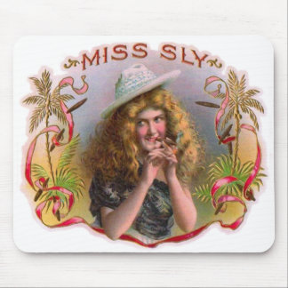 Vintage Cigar Box Label Miss Sly Cigars Mouse Pad