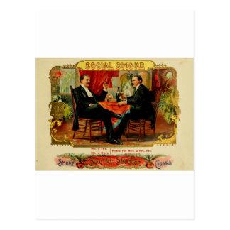 Vintage Cigar Box Label SOCIAL SMOKE  (L4) Post Cards