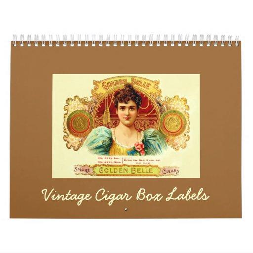 Vintage Cigar Box Labels Wall Calendar