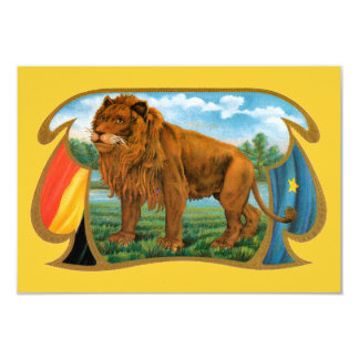 Vintage Cigar Label Art, African Lion in Savannah Card